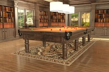 pool table with orange top