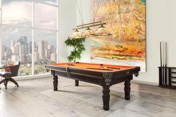 view of a classic style orange top billiard table
