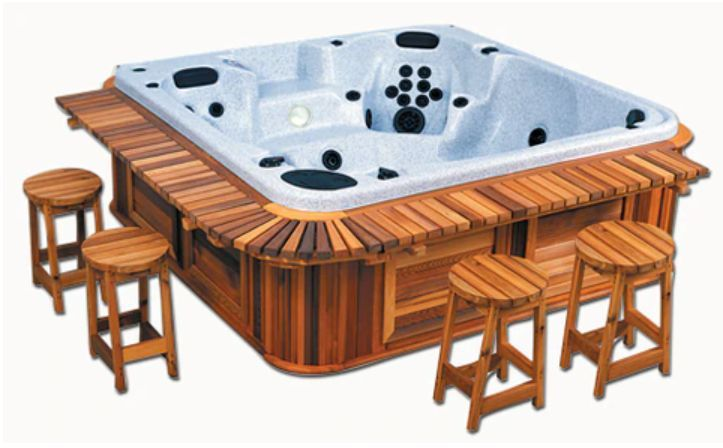 spa with wooden counter and stools