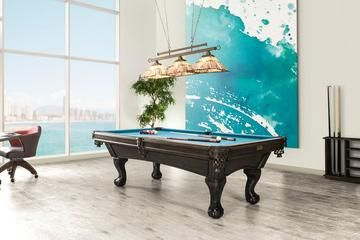 a classic style blue top billiard table